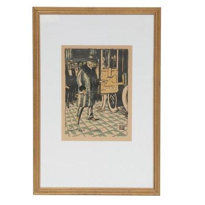 "Edmond Bille ""Une Danse Macabre"" Series Woodblock Print"