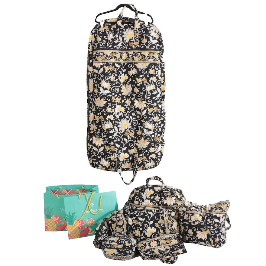 "Vera Bradley ""Yellow Bird"" Seven-Piece Travel Set and Gift Bags"