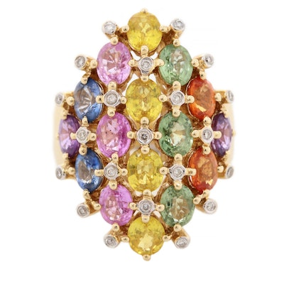 14K Yellow Fancy Sapphire and Diamond Gold  Ring