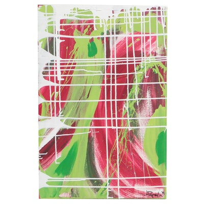 "J. Popolin Abstract Acrylic Painting ""Reds Greens White Drips"""