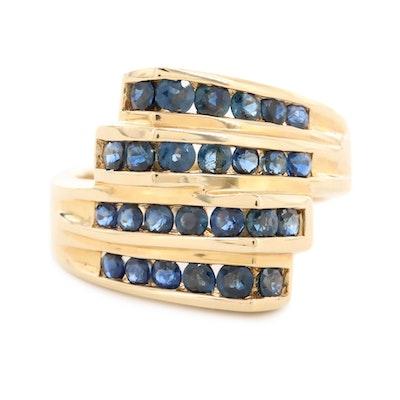 14K Yellow Gold Sapphire Bypass Ring
