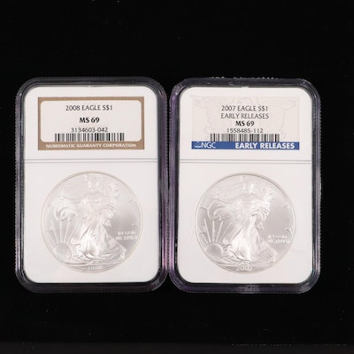 2007 and 2008 NGC Graded $1 U.S. Silver Eagles