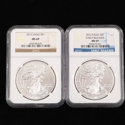 2012 and 2013 NGC Graded $1 U.S. Silver Eagles