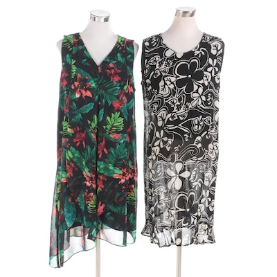 Chico's Brand Floral Print Sleeveless Dresses