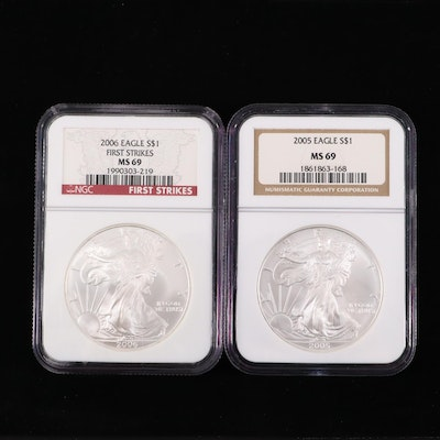 2005 and 2006 NGC Graded $1 U.S. Silver Eagles