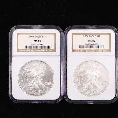 2004 and 2005 NGC Graded $1 U.S. Silver Eagles