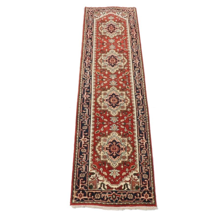 Hand-Knotted Indo-Persian Heriz Serapi Rug Runner