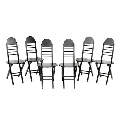 Contemporary Folding Wooden Chairs, Set of Six