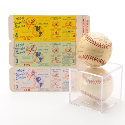 New York Yankees 1964 World Series Tickets, Signed Larsen Ball and More, COA