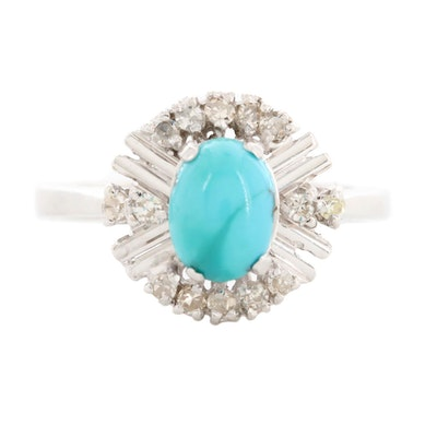18K White Gold Turquoise and Diamond Ring