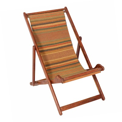 Folding Wooden Chair with Woven Seat, Mid Century