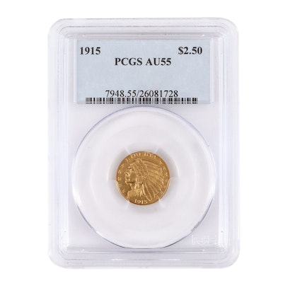 PCGS Graded AU55 Indian $2 1/2 Gold 1915 Indian Head Coin