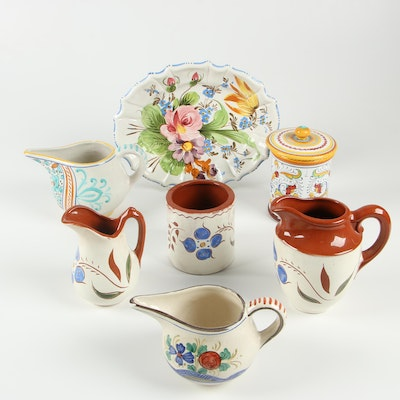 Folk Art Redware and Italian Pottery Pitchers and Tableware