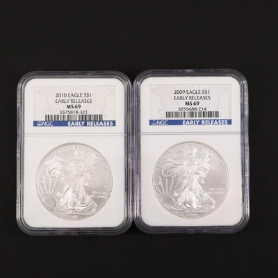 2009 and 2010 NGC Graded $1 U.S. Silver Eagles