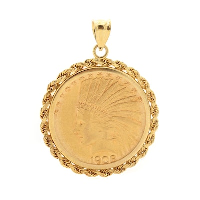 14K Yellow Gold Rope Bezel Pendant with 1908 Indian Head $10 Gold Eagle Coin