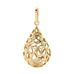 18K Yellow Gold Diamond Cage Pendant