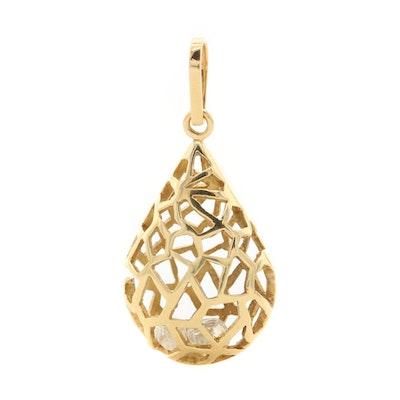18K Yellow Gold Diamond Cage Pendant