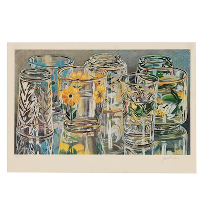 """Janet Fish Offset Lithograph """"Painted Glasses"""""""