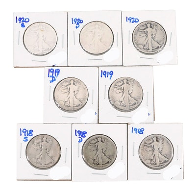 Eight Walking Silver Half Dollars Including a 1918-D and 1920-S
