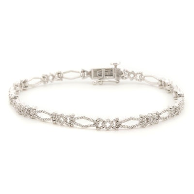 14K White Gold 1.70 CTW Diamond Bracelet