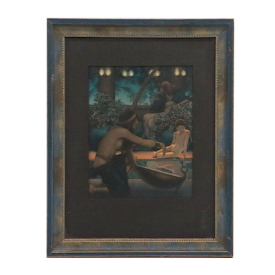 """Halftone Color Lithograph After Maxfield Parrish """"Egypt"""""""