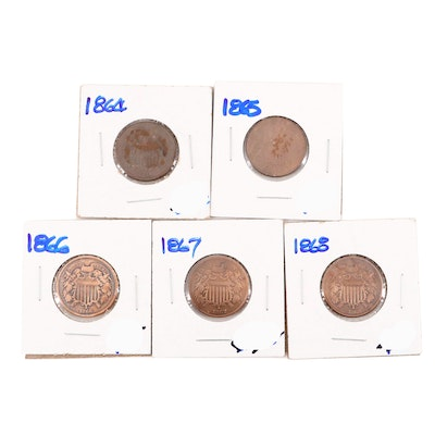 Five U.S. Two Cent Coins Including 1864-1868