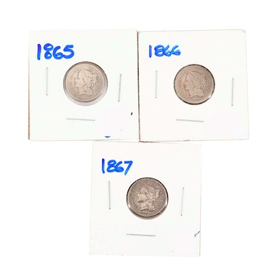 Three U.S. Three Cent Nickel Coins Including 1865, 1866, and 1867