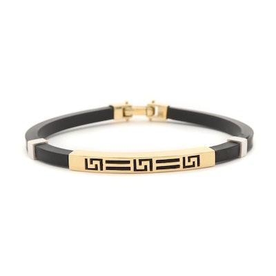18K Yellow and White Gold Greek Key Rubber Bracelet