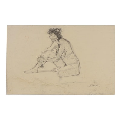 Ricardo Morin 1982 Charcoal Drawing Figure Study