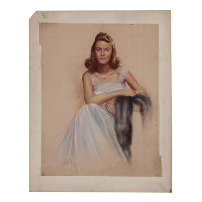 Mid-Century Pastel Portrait of Seated Lady