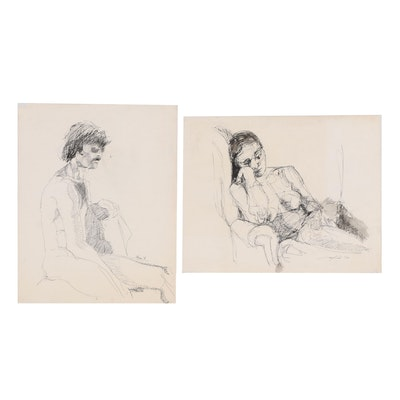 Ricardo Morin 1978 Ink Figure Drawings