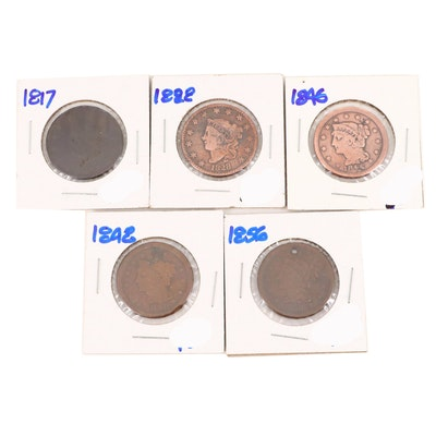 Five Various U.S. Large Cents Featuring an 1828 and 1856
