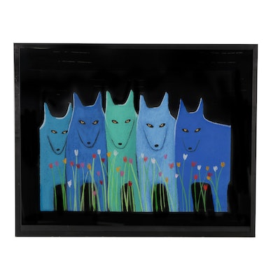 "Carol LaRoche Lithograph ""Blue Wolfpack with Flowers"""