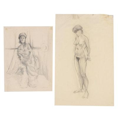 Ricardo Morin 1975 Charcoal Figural Drawings