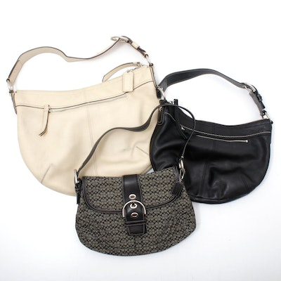 Coach Soho Mini Signature Jacquard Flap and Coach Pleated Leather Hobo Handbags
