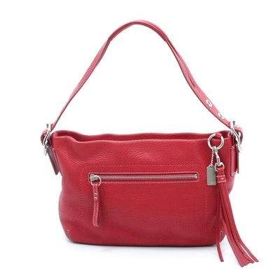 Coach Red Pebbled Leather Split Handle Hobo Handbag with Tassel