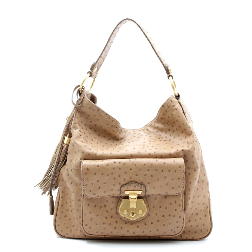 Talbots Beige Ostrich Embossed Leather Hobo Bag with Tassels