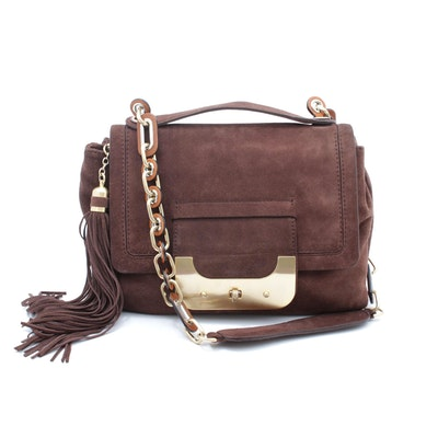 Diane von Furstenberg Brown Suede Flap Front Shoulder Bag