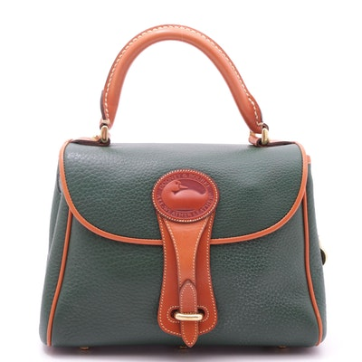 Dooney & Bourke Green Pebbled All-Weather Leather Top Handle Bag