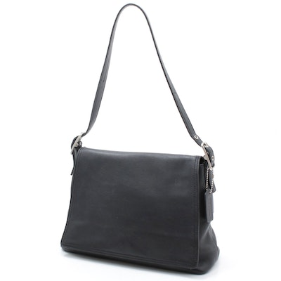 Coach Black Leather Front Flap Shoulder Bag
