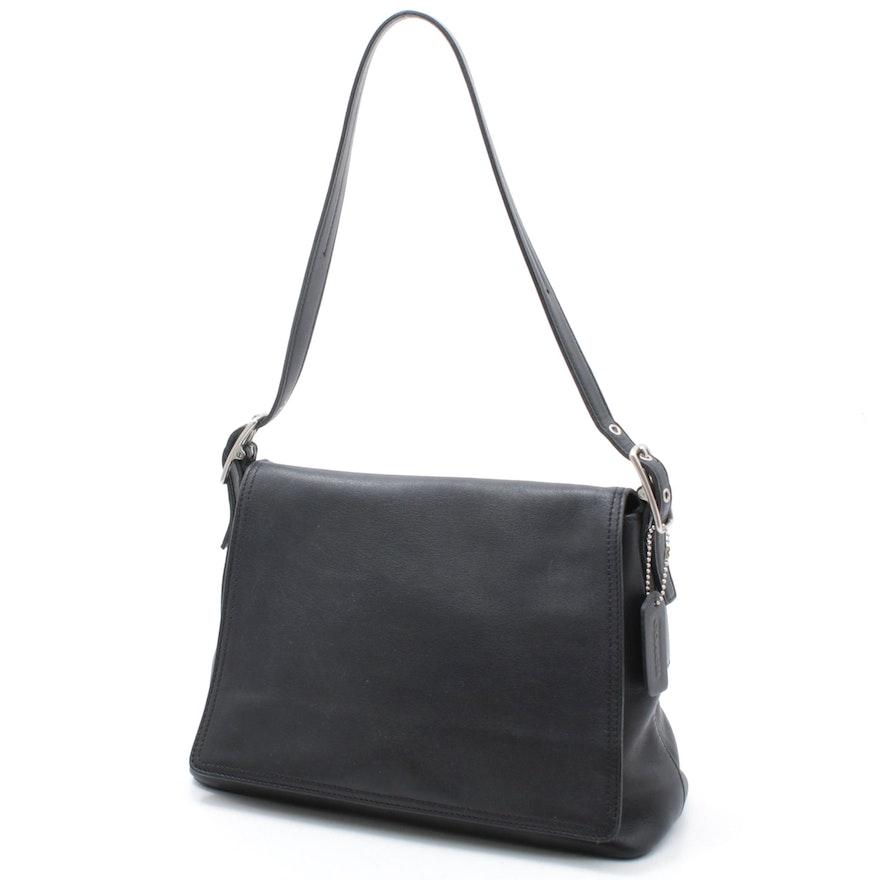 Coach Legacy West Studio Black Leather Flap Front Shoulder Bag