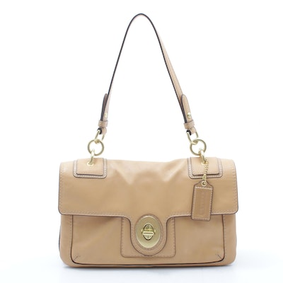 Coach Peyton Leather Flap Shoulder Bag with Turnlock