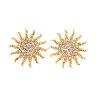 18K Yellow Gold Cubic Zirconia Sun Stud Earrings