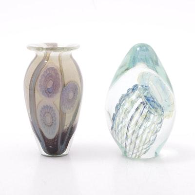 """Robert Eickholt """"Sea Flower"""" & """" Jellyfish"""" Signed Blown Glass"""