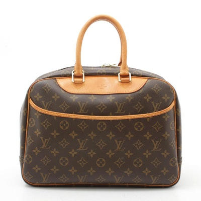 Louis Vuitton Paris Monogram Canvas Deauville Bag Trimmed in Vachetta Leather
