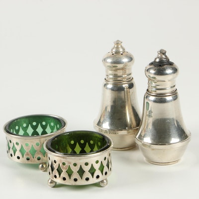 Duchin Creations Weighted Sterling Pepper Shakers with Sterling Salt Cellars