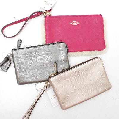 Coach Leather Zippered Wristlet Wallets