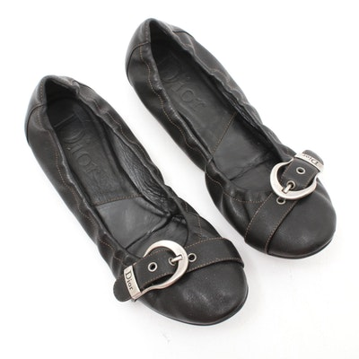 Dior Black Leather Buckle Ballet Flats