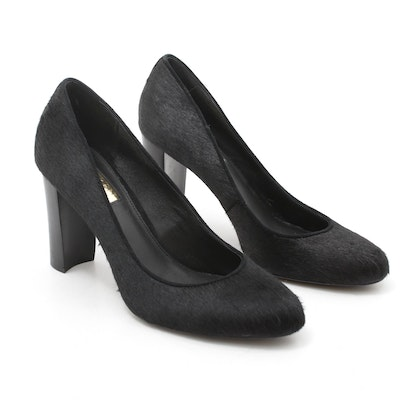 Ralph Lauren Black Calf Hair Pumps with Wooden Stacked Heel