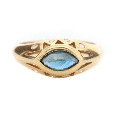 Lessard 18K Yellow Gold Sapphire and Diamond Ring
